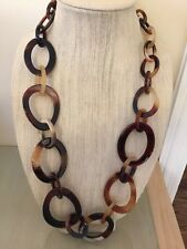 NWOT Faux Light And Dark Tortoise Long Link Chain Necklace Anthropologie