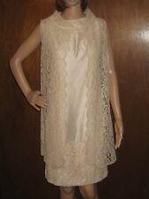 Vintage 60s Wedding Dress Set Mod Sheath Silk Champagne Tan Lace Jacket Small