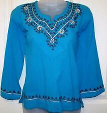 BLUE CRINKLE EMBROIDERED TUNIC TOP HIPPIE BOHO FESTIVAL ETHNIC FREE SIZE #H8