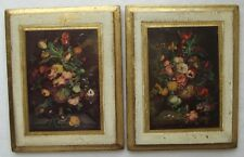 VINTAGE PAIR OF ITALIAN FLORENTINE TOLEWARE FLORAL WOOD WALL PLAQUES 5-3/4""