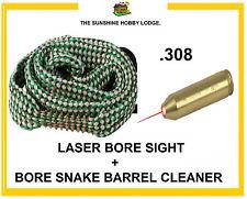 308 .308 Caliber Laser Bore Sight Red Laser Sighter + Bore Snake Barrel Cleaner
