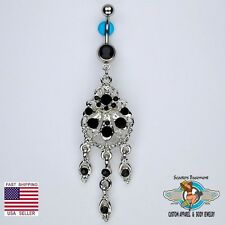 Beautiful Chandelier Dangle Belly Navel Ring Bar Elegant Black CZ Piercing (D13)