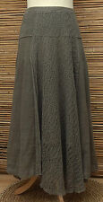 *ZUZA BART*DESIGN BEAUTIFUL PURE LINEN STUNNING CROCHET MAXI SKIRT*KHAKI* LARGE