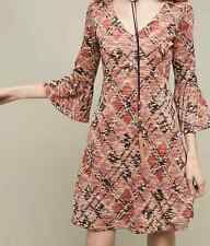 $138 ANTHROPOLOGIE MAEVE MULTICOLOR 3/4 SLEEVE ERINA SWING LINED DRESS Sz SP