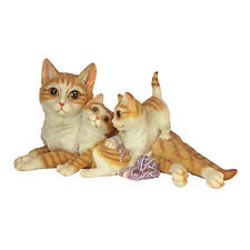Mother Tabby Cat & Her Kittens Feline Statue Home Garden Kitty Sculpture