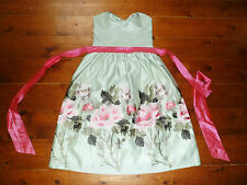 BN DIVA GREEN SATIN FLOWER EMBROIDED DRESS VINTAGE PINUP 50s PROM WEDDING RACES