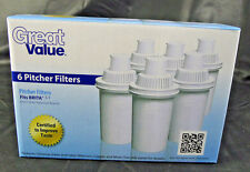 Lot 6 Great Value Water Pitcher Filters Cartridges Replacement Fits Brita 2 3