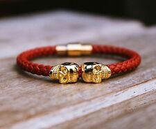 Vera Pelle Rossa Oro TWIN Teschio Bracciale northskull ispirato prezzo MATCH!