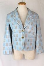 ANTHROPOLOGIE Daughters of Liberation Jacket 6 SMALL Blue Fading Madras Blazer