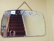 Vintage Large 1940's Etched Flowers Mirror Bevelled Edge Wall Hanging & Chain