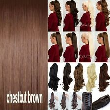 New 100% Thick Jaw Claw On Ponytail Clip In Human Hair Extensions Fake Hairpiece