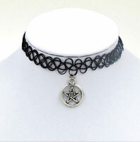Pentagram Pendant David Pentacle Choker Elastic Necklace Boho 90s Wiccan Pagan