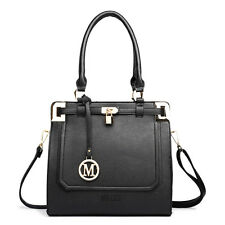 Women Designer Celebrity Leather Padlock Shoulder Handbag Tote Bag Plain Black