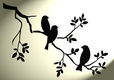 Shabby Chic Stencil 3 birds in tree Rustic Mylar. Vintage style A4 297x210mm