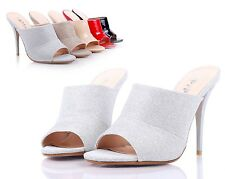 Silver Sexy Womens Peep Toe Mules High Heels Dress Shoes Sandals Shoes Size 8.5
