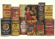 ROBERT  OPIE  ADVERTISING  POSTCARD  -  VARIOUS  TINS  OF  COCOA