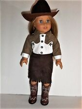 """Doll Clothes AG 18"""" Western Suede Skirt Star Top Boots Fit American Girl Doll"""
