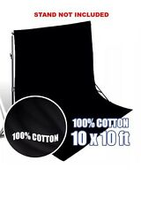 Black Photography Background 10x10 Muslin Backdrop Photo Studio Kit Cotton New