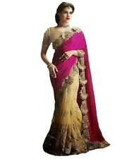 V-kart Designer Embellished Pink Chiffon Saree With Golden Blouse