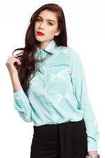 Nouvelle robe mesdames géométrique imprimer ourlet arrière plus long travail de bureau chemise top taille 8-14