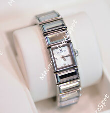 AUTH SWAROVSKI CLEAR CRYSTAL PANEL STAINLESS STEEL BAGUETTE WATCH 999984 $700