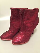 Vintage RED GLITTER Ankle Boots with Spike Heel Essence NYC by Cabrini SIZE 6