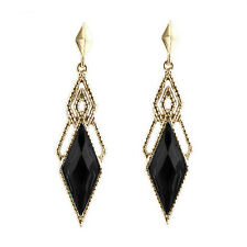 Vintage Style Gold & Black Luxury Long Drop Stud Earrings E994