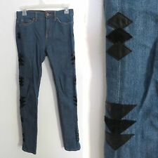 Urban Outfitters BDG size 25W 30L denim jeans black triangle patches high waist