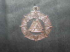 PEWTER TONE VIKING VALKNUT PAGAN TRIANGLE NORSE PENDANT CHARM NECKLACE