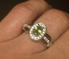 100%NATURAL TOP GREEN PERIDOT STERLING 14k WHITE GOLD OVER SILVER RING 6.5