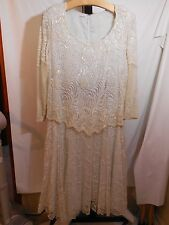 WOMANS VINTAGE NEIMAN MARCUS LACE OVERLAY PEARL BEAD WEDDING DRESS PLUS 3X 4X
