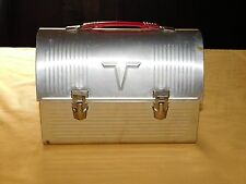 VINTAGE THE AMERICAN THERMOS PRODUCT SILVER RED HANDLE ALUMINUM METAL LUNCH PAIL