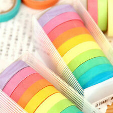 10X New Decor Washi Rainbow Sticky Paper Masking Adhesive Tape Scrapbooking DIY