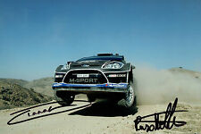 Ott TANAK & Raigo MOLDER SIGNED Rally AUTOGRAPH 12x8 Ford Photo AFTAL COA WRC