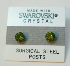 6mm Small Olive Green Crystal CIRCLE Stud Earrings Children's SWAROVSKI ELEMENTS