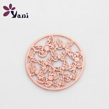 Floating charm 22mm Butterfly Golden Discs Round for glass Living Memory Locket