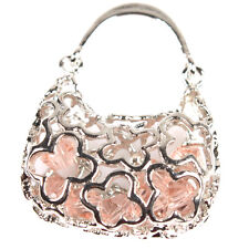 6pcs New Pink Beads Hollow Handbag Copper Charms Pendant Fit Jewelry Making LC