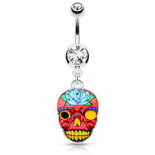 Sugar Skull Designs Surgical Steel Dangle Navel Belly Button Ring