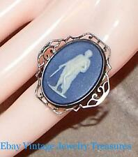 Antique Art Deco Vintage Blue Wedgewood Sterling Silver Ring Size 7