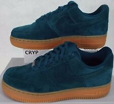New Womens 7 NIKE Air Force 1 07 Suede Teal Gum Shoes $95 749263-301