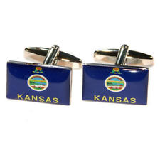 Dark Blue Kansas Us American State Flag Cufflinks With Gift Pouch Flags Present