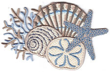 SEASHELL COLLAGE, BLUE & BEIGE - BEACH - TROPICAL - IRON ON EMBROIDERED PATCH