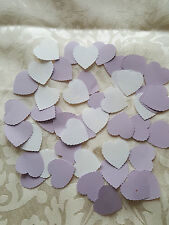 300 Lilac and White paper heart wedding confetti-party table decorations