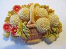 VINTAGE JAPAN MOLD CREATED CARVING BASKET OF FLORAL CELLULOID PLASTIC BROOCH PIN