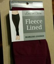 NEW! Love Charm Fleece Lined Seamless Leggings (Cranberry) size M / L