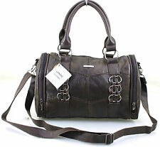 New Ladies Women Girls Lorenz Cowhide Real Leather Bowling Shoulder Handbag