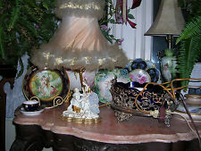 antique  romantic couple signed meissen hand painted  porcelain lamp