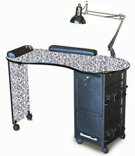 SALON MANICURE NAIL TABLE DESK LOCKABLE Pink GRANITE LAMIN  TOP *BLOW-OUT SALE*
