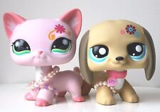 "❤LOT 2 Littlest Pet Shop LPS JUMBO 4.5"" Big Pink Cat Dachshund Dog Puppy DECO❤"