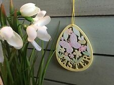 Wood Easter Egg Sign Hanging Decoration Yellow Gisela Graham Butterfly Glitter